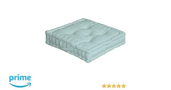 Enjoy Home cojín de Suelo con asa 50 x 50 x 10 algodón Verde de Agua 50 x cm