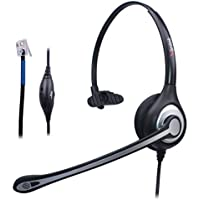 Wantek Corded Telephone RJ Headset Monaural with Noise Canceling Microphone for Call Center Telephone Systems with Plantronics M10 M12 M22 MX10 Amplifiers or Cisco 7942 7971 Office IP Phones(F600C1)