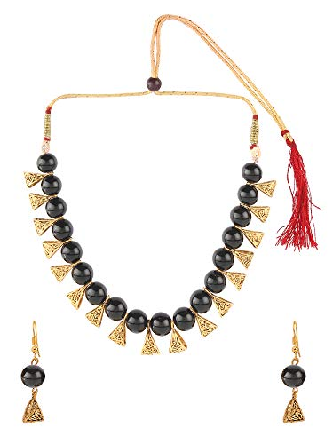 Oxidized Faux Pearl Beaded Vintage Tribal Statement Choker Necklace Earrings Jewelry Set ()