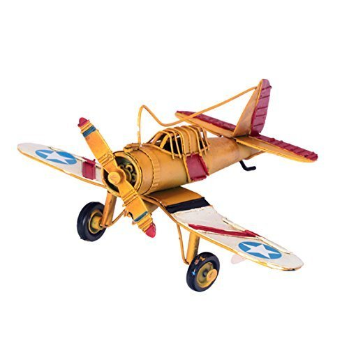 Berry President® Vintage / Retro Wrought Iron Metal Propeller Airplane Plane Aircraft Handicraft Models -The Best Choice for Photo Props/christmas Gift/home Decor/ornament/souvenir Study Room Desktop Decoration (Yellow)