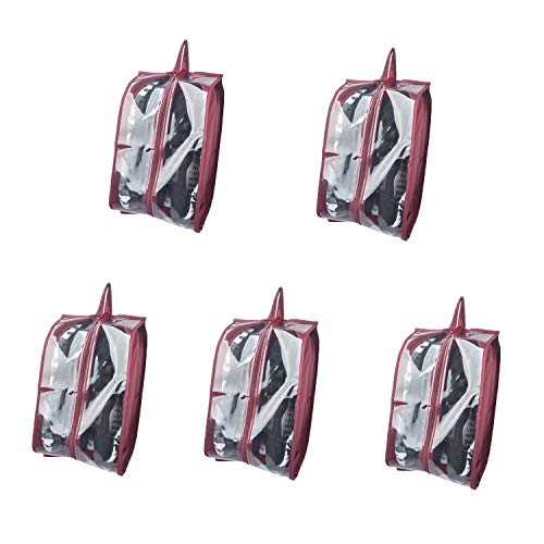 KinHwa Travel Shoe Bags with View Waterproof Shoe Bags for Travel Space-Saving Shoe Organizer Bags with Zipper for Women Men - 5 Pack - Dark Red