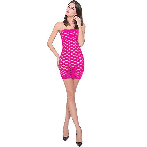 Geoot Sexy Fishnet Club Mini halter Dress Body Stocking (Rose Red) -