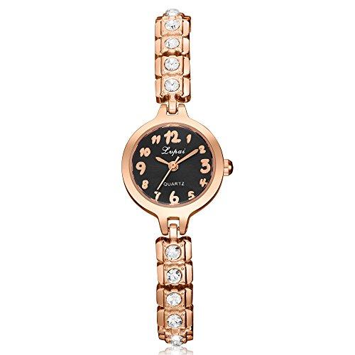 Gold Black Dial Diamond (Lvpai Small Diamond Bracelet Wrist Watch for Women Analog Quartz Arabic Numbers P276 (Rose Gold Black Dial))