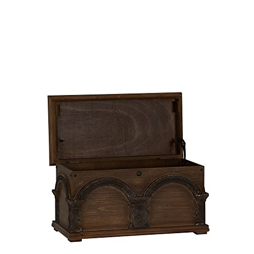 Household Essentials Wooden Arch Trunk Storage Chest, Small, Brown
