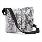 Plush Quilted Butterfly Fabric Print Messenger Bag