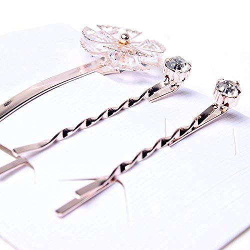 Soochat Rhinestone Pearl Flower Crystal Hair Clip Hair Pins Barrette Bobby Pins Decorated for Lady Women ()