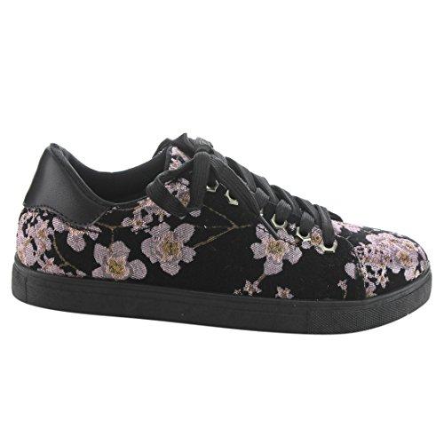 Betani Ei32 Donna Sneakers Stringate Basse Con Stampa Floreale Nera E Rosa