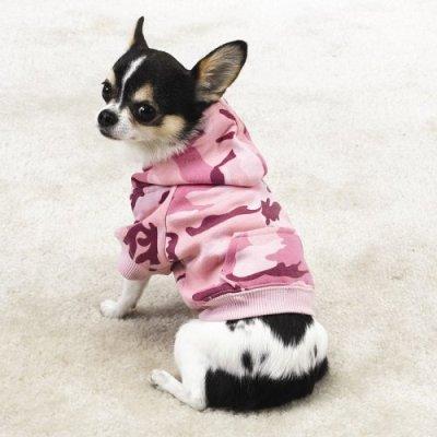 PINK – X-SMALL – Fashionable, Warm Camo Fleece Hoodies, My Pet Supplies