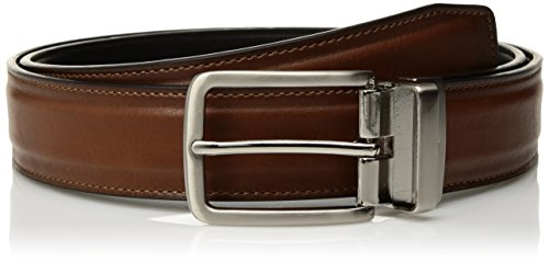 Dockers Men's 1.3 in. Wide Padded Strap Reversible Belt, tan/black, 40