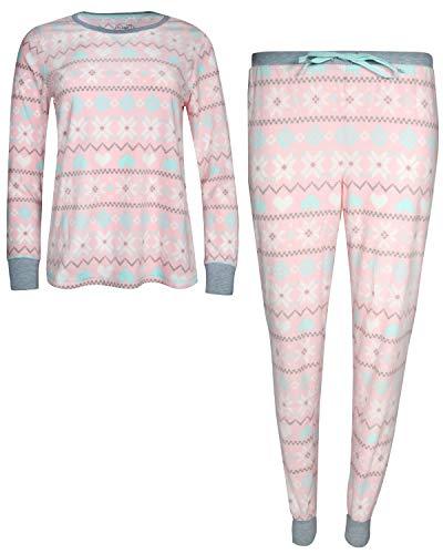 (Pillow Talk Womans 2-Piece Velour Jogger Pajama Set, Pink Snowflake, Large')