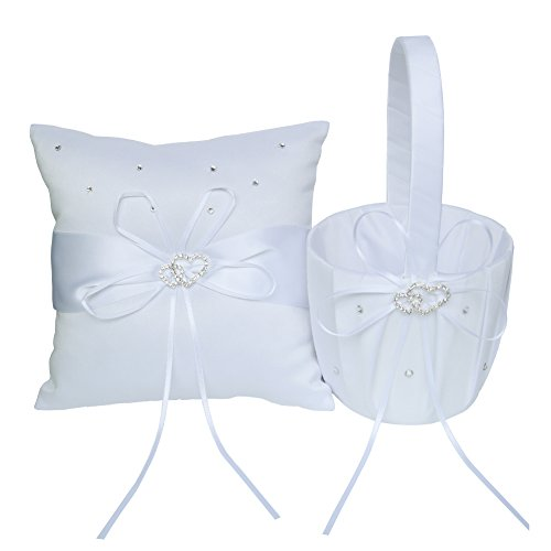 ARKSU Flower Girl Basket 5x8.5 inch and Ring Pillow 7.8x7.8 inch decorated with Satin Ribbon and 2 Heart Rhinestones for Rustic Wedding Shower Ceremony Party-White by ARKSU