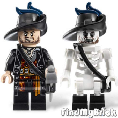 PM1067 Lego Pirates The Caribbean Hector Barbossa Minifigure & Skeleton Minifigure Loose from 4181 ( New Lego Sold Loose as Image Show ) -