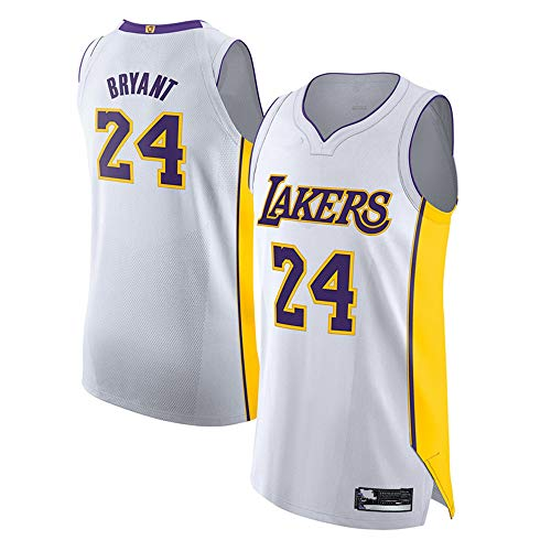 Caoguo Men's Kobe_Bryant_Los Angeles_Lakers_#24_White Authentic Jersey - Association Edition (M)
