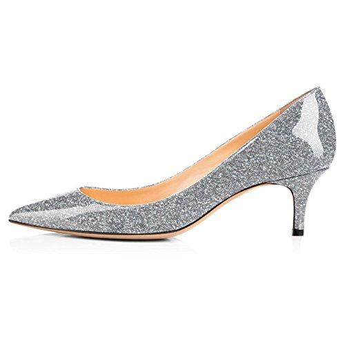 5 Classique Kitten Pointu Bureau Bout Escarpins Briller Femme Chaussures Fermé 3 6 cm ELASHE Shoes Soiree Heel Argent XztPxqy