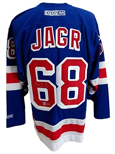 brand new 0756d 866ed Autographed Jaromir Jagr Jersey - Rangers Blue 139619 ...