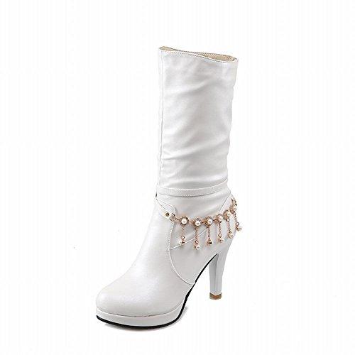 Platform White Ladylike Beaded Latasa High Pleated Heel Mid Womens Boots Calf Strap Dress XfxAUw