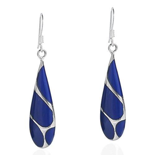 Vintage Simulated Blue Lapis-Lazuli Streak Teardrop .925 Sterling Silver Dangle Earrings (Streak Vintage Fashion)