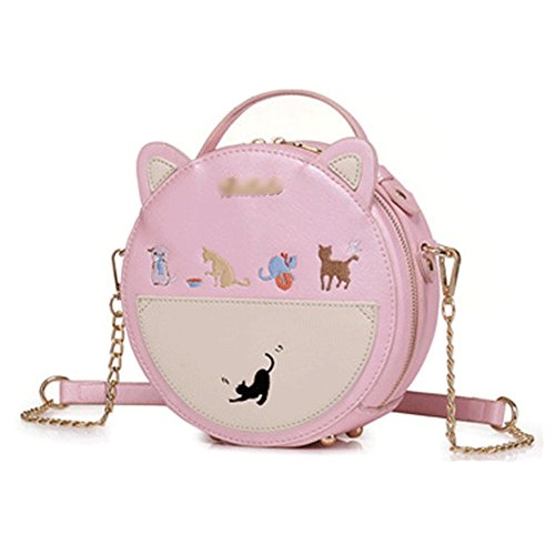 Chain Fashion Zipper Summer Pink Crossbody Bag Bag Shoulder Round Bag Women Mini Small wBICqzZ