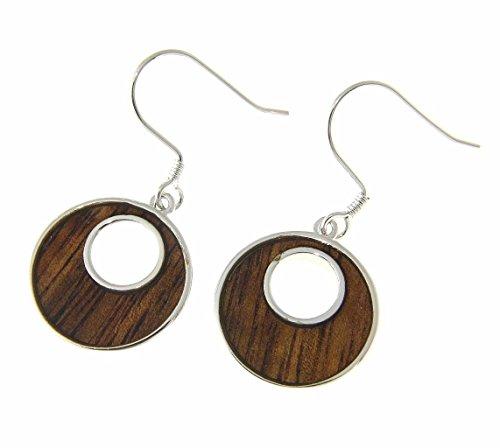 (Koa Wood Hawaiian Scroll Ocean Wave Rhodium Plated Brass Hook Earrings)