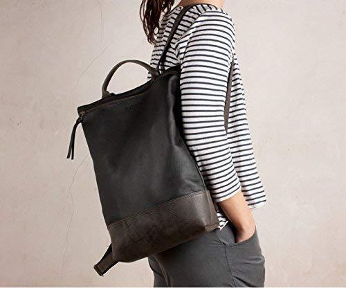 mochila portátil negra y gris, mochila cuero grande negra y gris, mochila cuero negro