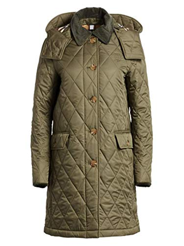 BURBERRY Fernhill Check Trim Monogram Motif Diamond Quilted Jacket in Olive Green