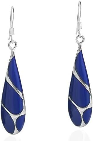 Vintage Reconstructed Blue Lapis Lazuli Streak Teardrop Sterling Silver Fish Hook Dangle Earrings