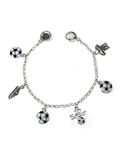 Jewelry Nexus Silver-tone White and Black Soccer Theme Charm Bracelet by Shoe T-shirt I Love (Ball Charm Bracelet)