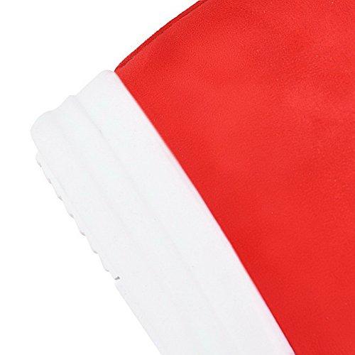 AllhqFashion Mujeres Colores Surtidos Sintético Tacón Alto Puntera Redonda Sin cordones Botas Rojo