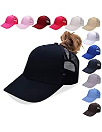 NeuFashion Ponycap Messy High Bun Ponytail Adjustable Mesh Trucker Baseball Cap Hat for Women