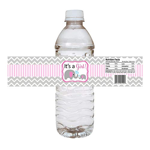 Baby Girl Elephant Water Bottle Labels - Baby Shower Party Drink Stickers in Pink - Set of 10]()