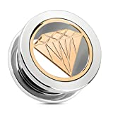 adt_pi 1 Pair of Rose Gold Diamond Plate Ear Gauges Plugs Rings Tunnels Piercing Jewelry, Size 10mm (00 Gauge)