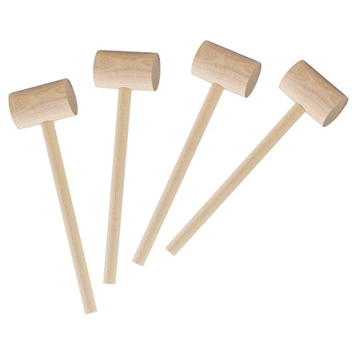 Wooden Crab (HIC Seafood Crab Mallets, Natural Hardwood, 7.75-Inches, Set of 4)