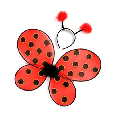 Creative Education of Canada Great Pretenders Ladybug Wings with Headband, Red/Black (One Size): Clothing