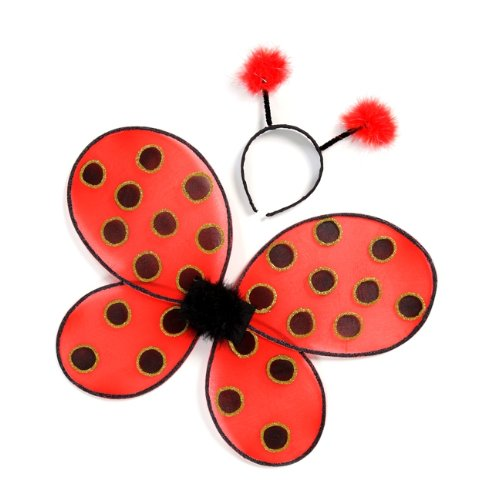 Creative Education of Canada Great Pretenders Ladybug Wings with Headband, Red/Black (One Size) -
