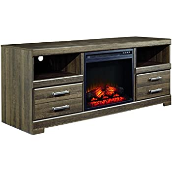 efc868a1738a Ashley Furniture Signature Design - Frantin Collection TV Stand - Up to 64  Inch TV - Compatible with Fireplace Inserts - Brown