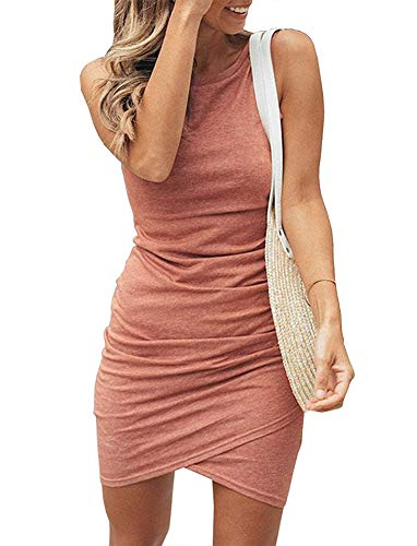 Women's Sleeveless Bodycon Mini Dresses - Sexy Ruched Tulip Hem Sheath Sundress Small Coral - Sundress Pink