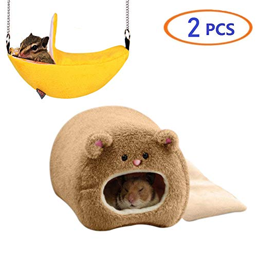 Tfwadmx Rat Bed, Hamster Hammock Warm Fleece Hanging Bed Cage Nest Cute House with Mat for Dwarf Hamster Mouse Mini Mice