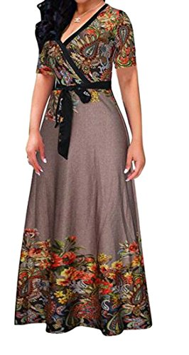 Hem Waist Deep Big Dresses Empire V Cromoncent Women's Printed 1 Party Neck SXwqn0g8
