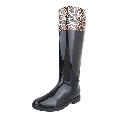 Ital-Design Women's Rubber Boots Black Brown tQvfgR