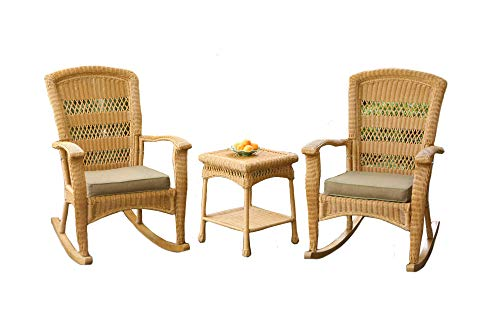 Tortuga Outdoor Portside Plantation 3pc Rocking Chair Set – White, Dark Roast and Amber Wicker with Cushions (Amber)