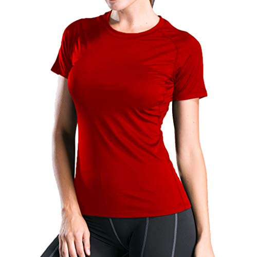 - Sunhusing Women Solid Color Round Neck Short-Sleeve T-Shirt Sports Running Fitness Tight-Fitting Yoga Tops Red