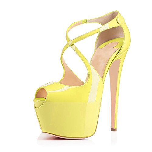 Sexy Platform Stiletto 1/2 - Women Peep Toe Cross Over Strap Pumps - 1 1/2 inches Hidden Platform Sandals - 6 inches Covered Stiletto High Heels (9, Yellow)