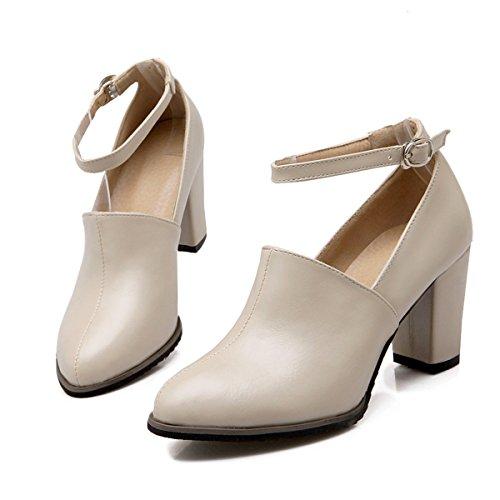 YE Chunky High Heel 7cm Heels Spitze Riemchen Pumps mit Bequem Blockabsatz Elegant Office Schnalle Schuhe damen Beige