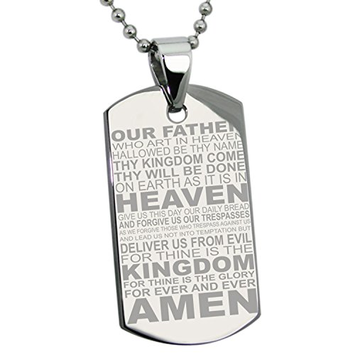 (Tioneer Stainless Steel Our Father Lord's Prayer Dog Tag Pendant)