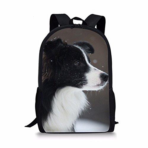 Sannovo Border Collie Dog Print Backpack Kid Animal Canvas Shoulder School Bag ()