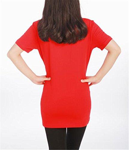 Camicie Estive Corta Gravidanza Magliette Rosso Premaman shirt Stampa Tops T Donna Pregnancy Kerlana Per Manica Top Girocollo Bluse qZfAxFAw