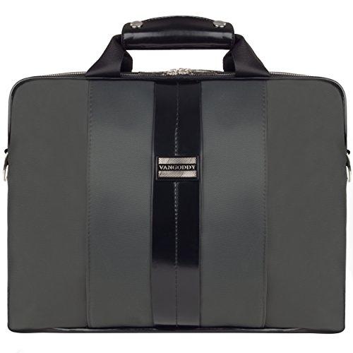 VanGoddy Unisex Zephyr Series Schutzhülle Laptop-Schulter-Taschen für Laptops mit einer Bildschirmdiagonale von 33,1-33,9 cm (12-13,3 zoll) Zoll) (Grau/Schwarz)