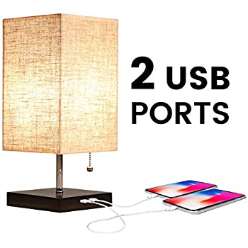 Apbeam Dual Usb Table Lamp Bedside Lamp With 2 Usb