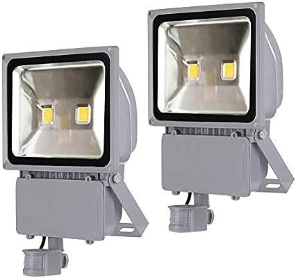 Greenmigo 2pcs Foco Proyector LED 100W Para Exteriores con Sensor de Movimiento,Blanco Frio 6500K,Resistente al Agua IP65,luz Amplia,Luz de Seguridad