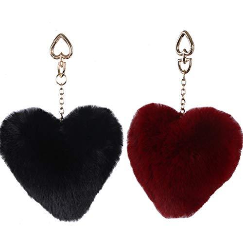 LILYFUR Women's Bag Purse Charms, Faux Fur Ball Pom Pom Keychain Gold Plated Keychain with Plush for Car Key Ring or Handbag Bag Decoration Heart Keychains, Red - Keychain Gold Plated